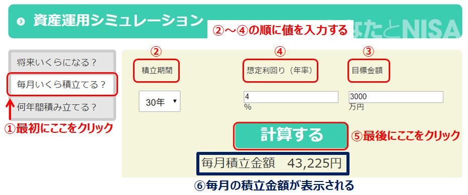 資産運用シミュレーション(金融庁)